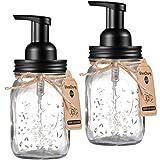 Mason Jar Foaming Soap Dispenser - Rustproof Stainless Steel Mason Jar Lid and Foaming Soap Pump,Best Hand Foam Soap Dispenser Glass for Bathroom Vanities or Kitchen Sink,Countertops - Black (2 Pack)