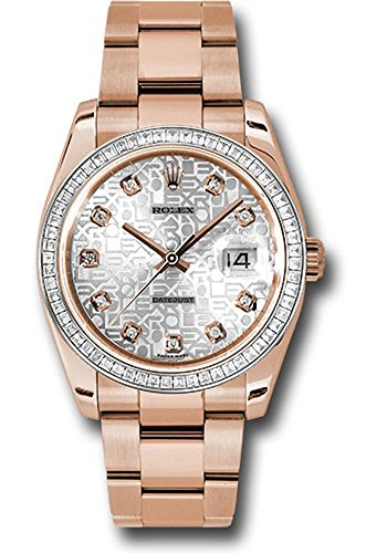 Rolex Oyster Perpetual Datejust 36MM 18K Everose Gold Case, Diamond Bezel with 60 Baguettes, Silver Jublilee Dial, Diamond Hour Markers, Oyster Bracelet.