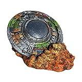 Baoblaze Acuario Ornamental OVNI Wreck Micro Paisaje Peces Tanque decoración Oculta Cueva artesanías no se desvanecen