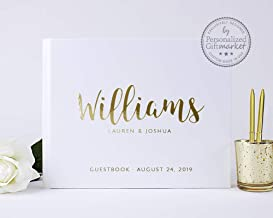 Personalized Wedding Guest Book for Wedding Couple, Alternative Custom Guest Book for Wedding Gold Foil, White Casebound Hardcover, 50 Sheets Blank or Lined, 10.5 x 8.25 inches