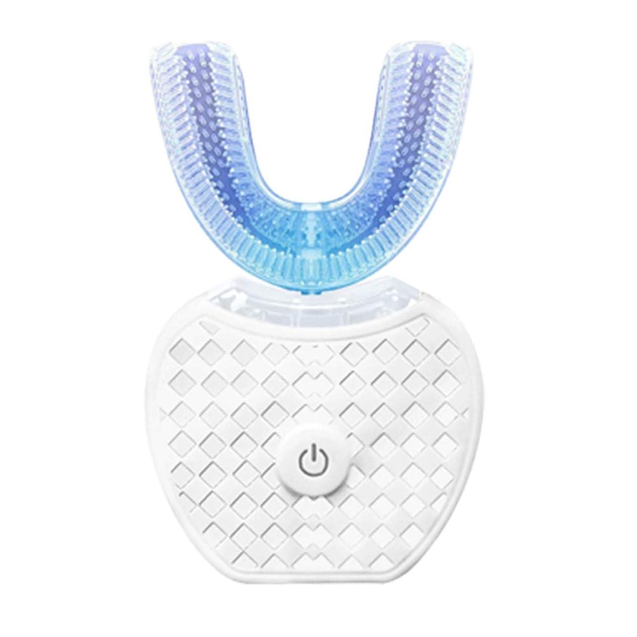 逃れる支払いなぜならU字型電動歯ブラシ、口腔電動歯ブラシ、U字型電動歯ブラシ交換ヘッド、成人用電動歯ブラシ、電動歯ブラシ-White