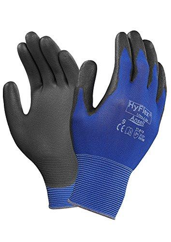 Ansell HyFlex 11-618 Guanti da Lavoro in Nylon, extra sottili, Guanto Meccanico Multiuso, Blu Nero - Abiti di lavoro da uomo Taglia 9 (12 Paia)