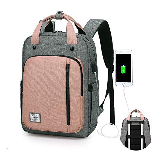 WindTook Mochila Portatil de hasta 15.6 Pulgadas Mochila Unisex Impermeable,con Puerto USB Mochila de Hombre y Mujer para Trabajo Viaja Diario Gris y Rosa