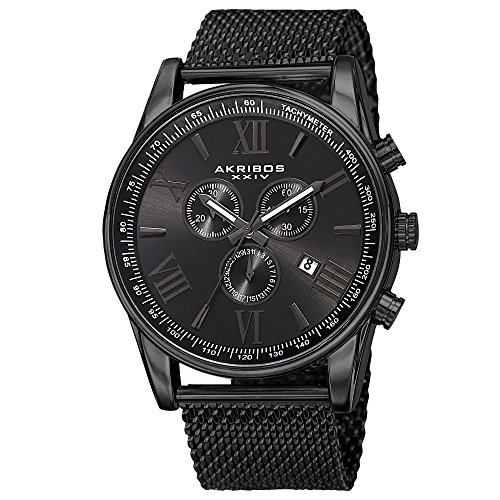 Akribos XXIV Swiss Chronograph Men's Watch - 3 Subdials with Date Window Black Sunburst Dial On Black Stainless Steel Mesh Strap - AK813