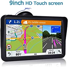 GPS Navigation for Car Truck RV,9 Inch HD Touch with Sunshade GPS Navigation System for Truck,Navigation with POI Speed Camera Warning,Voice Guidance Lane,Free Lifetime Map Updates