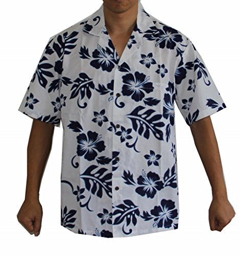 Made in Hawaii! Men's Hibiscus Flower Classic Hawaiian Shirt Collection (L, White/Blue)