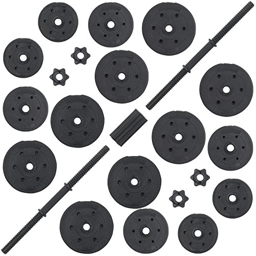 DTX Fitness 30Kg Adjustable Weight Lifting Dumbbell Barbell Bar and Weights Set - Black