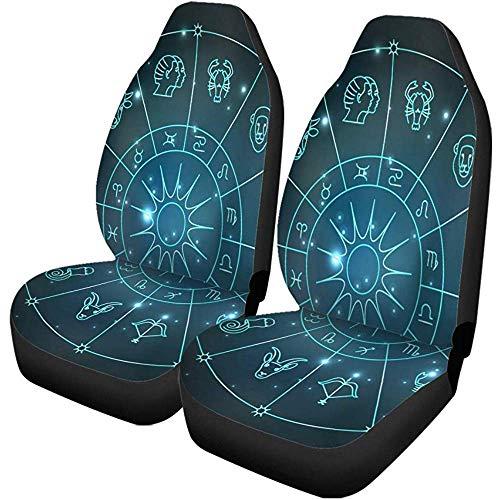 Autostoelhoezen Grijs Abstract Zodiacale Cirkel Astrologie Tekenen Dierlijke Waterman Ram Auto Accessoires Beschermers Universeel