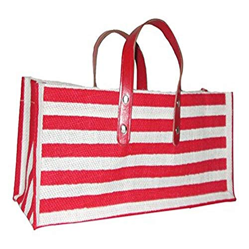 All For Giving Red and White Stripe Wine Purse, Red