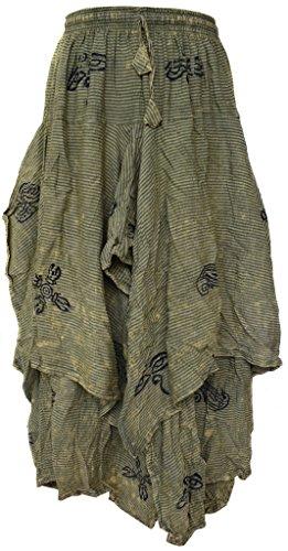 Little Kathmandu Hippie Boho Baumwolle 2 Layer Asymmetrisch Elastische Taillen Lange Summer Röcke L