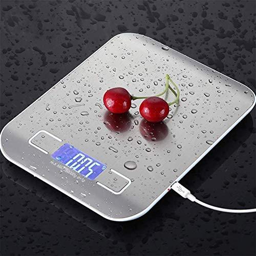 Digital Kitchen Scale Oplaadbare USB voedsel schaal elektronische weegschaal roestvrij staal koken met automatische uitschakelfunctie,Silver,11lb/5kg