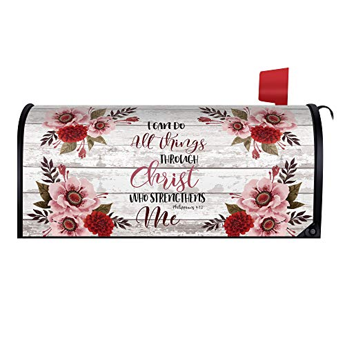 WIRESTER 20.8 x 18 inch Magnetic Mailbox Cover Decor for Outdoor - Christian Bible Verses Philippians 4:13