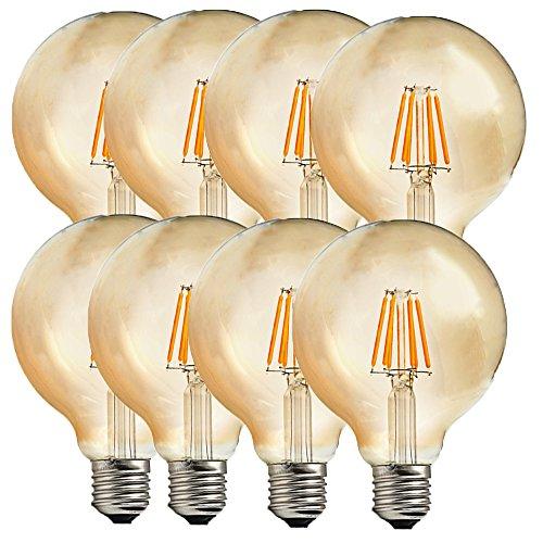 OUGEER 8er G80 E27 6W Glühbirne LED Edison Lampe Vintage Retro Stil Filament Birne Ersatz 60W,2300K Warmweiß,AC 220V-240V 600LM,Nicht dimmbar
