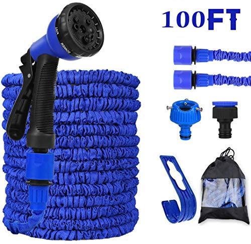 Festyle Gartenschlauch, erweiterbarer Gartenschlauch, 7 Funktionen, Sprühpistole, flexibel, magischer Wasserschlauch, wasserdicht, leicht, mit Aufbewahrungstasche (30 m) (blau – 100 ft)