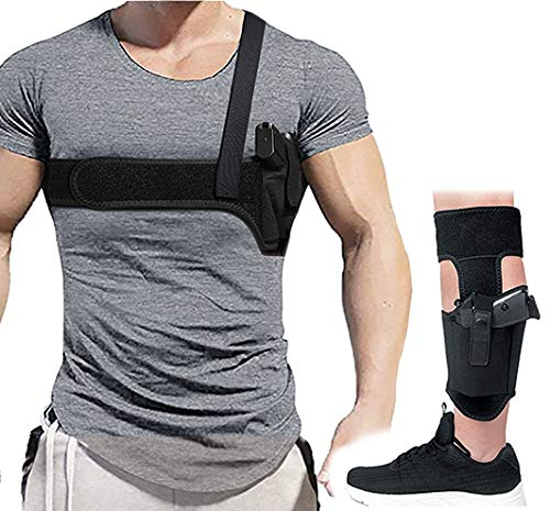 Lilcreek Shoulder Holster+Ankle Holster for Concealed Carry, Universal Underarm Gun Holster, Fits Subcompact and Compact Pistols for S&W Bodyguard, M&P Shield 9mm, Glock, Ruger LCP, LC9, Sig P365