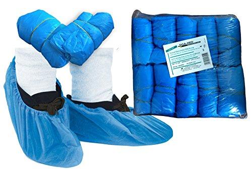 Überschuhe PE Einmal stark/strong ca. 4.0 gr dick! Original Tiga-Med Qualität 100 Stück OP Schuhüberzieher blau Überziehschuhe Einweg Schuhüberzug