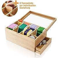 Amazy Caja para té de bambú – Caja de madera para té con 8 compartimentos y cajón para el almacenamiento de té (en bolsas) y otros accesorios