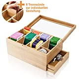 Amazy Bamboo Tea Box – Wooden Tea Chest with 8 dividers and drawer for storing tea bags and other accessories