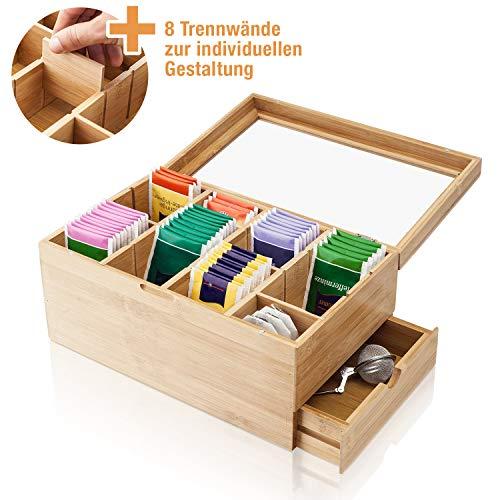 Amazy Teebox aus Bambus – Dekorative Teedose aus Holz mit 8 verstellbaren Trennfächern und Schublade für die Aufbewahrung von Tee (-beuteln) und anderem Zubehör
