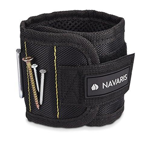 Navaris Magnetarmband für metallische Gegenstände - mit 5 starken Magneten - Magnetisches Armband für Schrauben Nägel Bits Nadeln - Schwarz Gelb