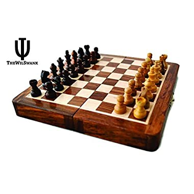 TheWilSwank Premium Magnetic 12  Inch Chess Set Game with Fine Wood Classic Handmade Standard Staunton Themed Ultimate Chess Set - Premium Edition With Chess Bag
