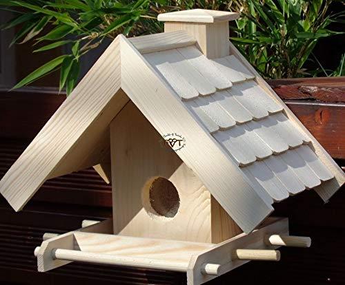 Vogelhaus + XXL- FUTTERSILO,K-VOWA3-natur002 Großes Vogelhäuschen + 5 SITZSTANGEN, KOMPLETT mit Futtersilo + SICHTGLAS für Vorrat PREMIUM-Qualität,Vogelhaus,- ideal zur WANDBESTIGUNG - Futterhaus, Futterhäuschen WETTERFEST, QUALITÄTS-SCHREINERARBEIT-aus 100% Vollholz, Holz Futterhaus für Vögel, MIT FUTTERSCHACHT Futtervorrat, Vogelfutter-Station Farbe natur, Ausführung Naturholz MIT TIEFEM WETTERSCHUTZ-DACH für trockenes Futter