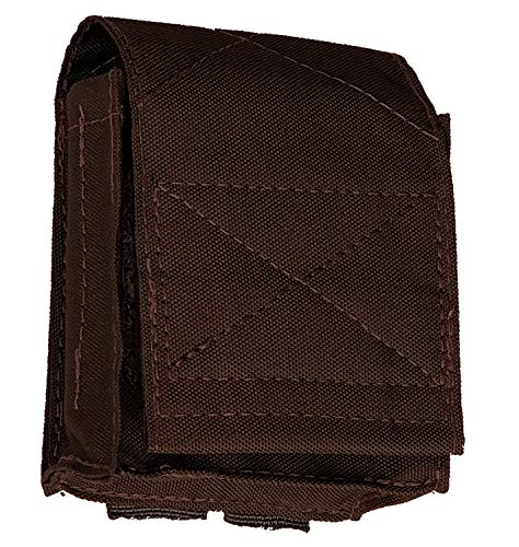 Nylon Double Handcuff Molle Pouch - Handcuff Case Holds 2 Sets of Cuffs - Tactical Pouch for Police and Security Load Bearing Vests and External Vest Carriers (Brown)
