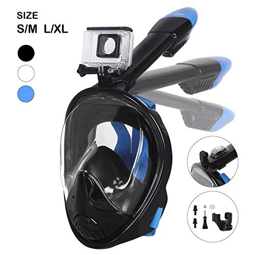 Unigear 180° Full Face Snorkel Mask -Panoramic View with Detachable for Camera Mount and Earplug,Anti-Fog Anti-Leak Snorkeling Design for Adults and Youth (Black, L/XL)