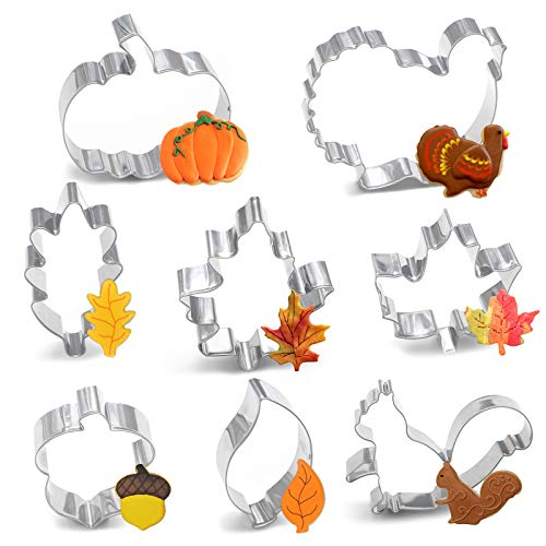 8PCS Large Fall Thanksgiving Cookie Cutter Set - Turkey, Pumpkin, Maple/Oak/Teardrop Leaf, Squirrel and Acorn