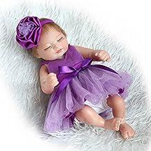 Pinky Reborn Muñecos bebé 10 Inch 26cm Inch Mini Hard Silicona Realista Suave de Vinilo Cuerpo Entero Renacer Bebé with Vestido Morado