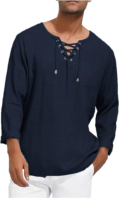 Aayomet Men's Cotton Linen Shirts Casual Long Sleeve V Neck T-Shirt Loose Daily Yoga Sport Beach Tee Shirts Tops