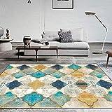 YLLN Alfombra de área Vintage, Grande, Suave al Tacto, con Estampado geométrico, Alfombrilla de Marruecos, Alfombra Grande para Sala de Estar, Dormitorio (Rectangular, 200 x 300 cm)