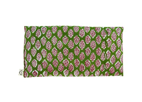 Scented Yoga Eye Pillow - Lavender Flax Seed - 4 x 8.5 - Block Printed - Soft Cotton - Organic Naturally Soothing - leaf green