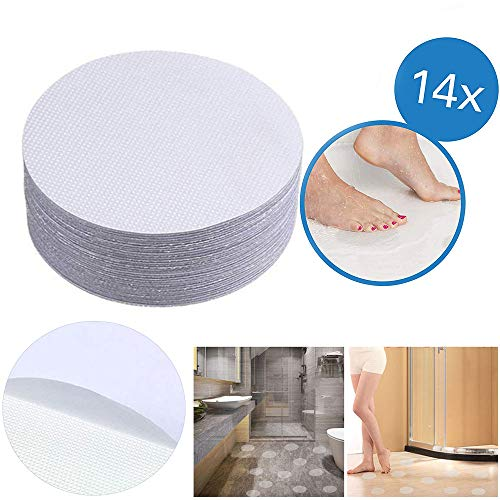 Ealicere 14 Stück Premium Anti-Rutsch-Aufkleber rund 10 cm (ø), transparent, selbstklebend, Sicherheit für Duschen und Badewannen - der geniale Rutschschutz