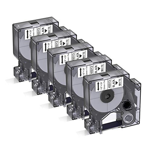 Bigger Compatible Label Tapes Replacement for DYMO D1 45013 Black on White Label Tapes Compatible with DYMO LabelManager 160 280 420P PnP 220P 360D 450 210D, 1/2'' W x 23' L, 12mm x 7m, 5-Pack