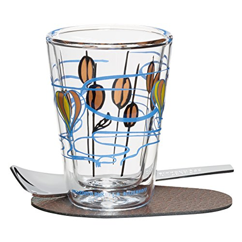 Ritzenhoff A Cuppa Day Espressoglas, Glas, schwarz/braun/blau/gelb, 5.7 cm