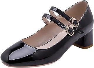 BeiaMina Women Fashion Block Heel Pumps Strap
