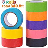 Colored Masking Tape, Rainbow Colors Painters Tape Colorful Craft Art Paper Tape for Kids Labeling Arts Crafts...