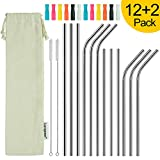 longzon Metal Straw, 12 Pack Stainless Steel Straws 8.5''+10.4'' Eco Friendly Drinking Reusable Straw with Silicone Tips Cover & 2 Cleaning Brushes for Smoothie, Milkshake, Cocktail and Hot Drinks.