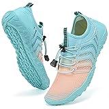 Water Shoes Mens Womens Beach Swim Shoes Quick-Dry Aqua Socks Pool Shoes for Surf Yoga Water Aerobics (G-Pink/Blue, 39)