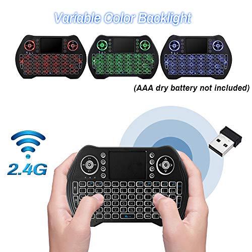 Mini Tastiera Senza Fili Retro Illuminata 2.4G Tastiera Portatile con Mouse Touchpad per Android TV Box Game Pad Smartphone Tablet Mac Linux Windows O
