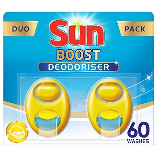 Sun Désodorisant Pour Lave-Vaisselle, Expert Odeur Contrôle, Parfum Citron, Efficace jusqu'à 60 lavages, Duo Pack