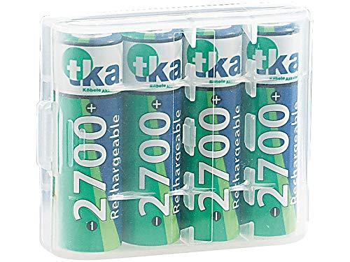tka Köbele Akkutechnik Akku AA: 4er-Set NiMH-Akkus Typ AA/Mignon, 2.700 mAh, mit Aufbewahrungs-Box (NiMH Akku AA)