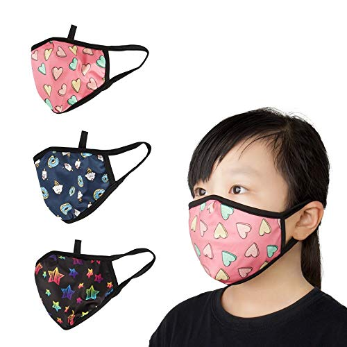 Wembley unisex child (8-12 Years) Washable Face Mask for Protection – Cotton With Earloops Bandana, Pink/White, One Size US