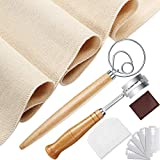 Danish Dough Whisk Bread Making Tools with Plastic Dough Scraper Bread Proofing Cloth Scoring Lame Bread Slashing Tool and 5 Replacement Blades for Cake Dessert Pizza Pastry Kitchen Accessories