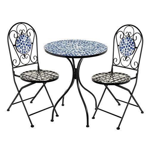 Conjunto Mesa y 2 sillas con Mosaico para Exterior Azul de Hierro y cerámica rústico - LOLAhome