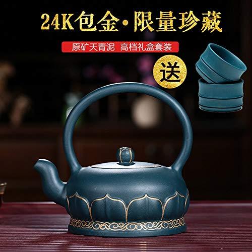 QinMei Zhou 24K gouderts tekening theepot hand blauw dag modder emmer met groene kleitheepot Tea Set (Color : Purple mud)
