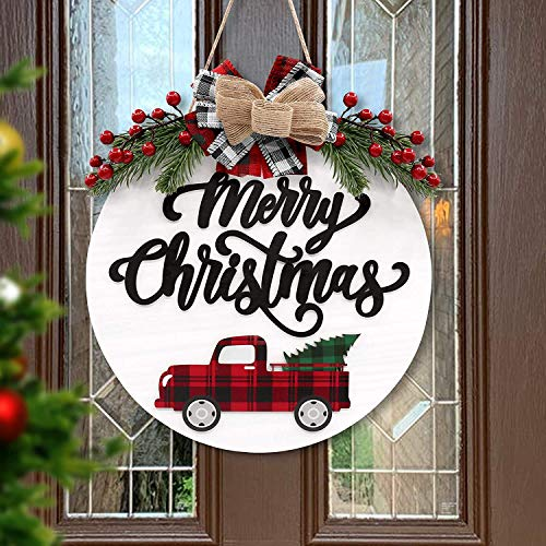 Huray Rayho Merry Christmas Rustic Wooden Door Wreath Hanger Red Truck Front Wall Sign Winter Holiday Home Celebration Decoration Xmas Festive Outdoor/Indoor Ideas Supplies
