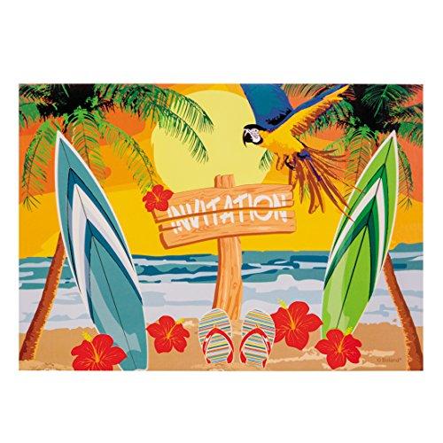 Sommerparty Grußkarten 6 Stk. Einladungskarten Beach Party Deko Einladungsschreiben Sommerfest Partyeinladungen Mottoparty Hawaii Motiv Karibik Bar Südsee 6 Stk. Einladungskarten Beach Party Deko