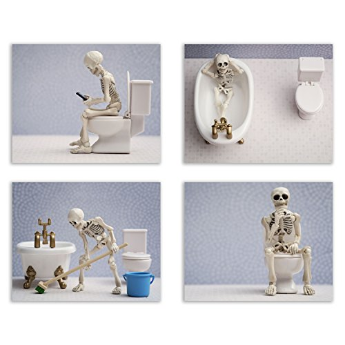 Summit Designs Skeleton Bathroom Prints - Funny Hipster Skull and Bones Wall Art Decor - Set of 4 (8 x 10) Photos